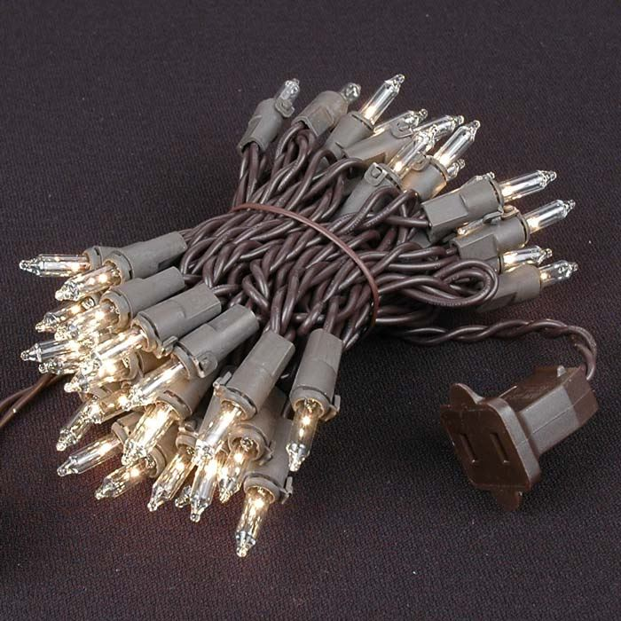 Picture of Brown Wire Clear Christmas Mini Lights 50 Light 11 Feet Long
