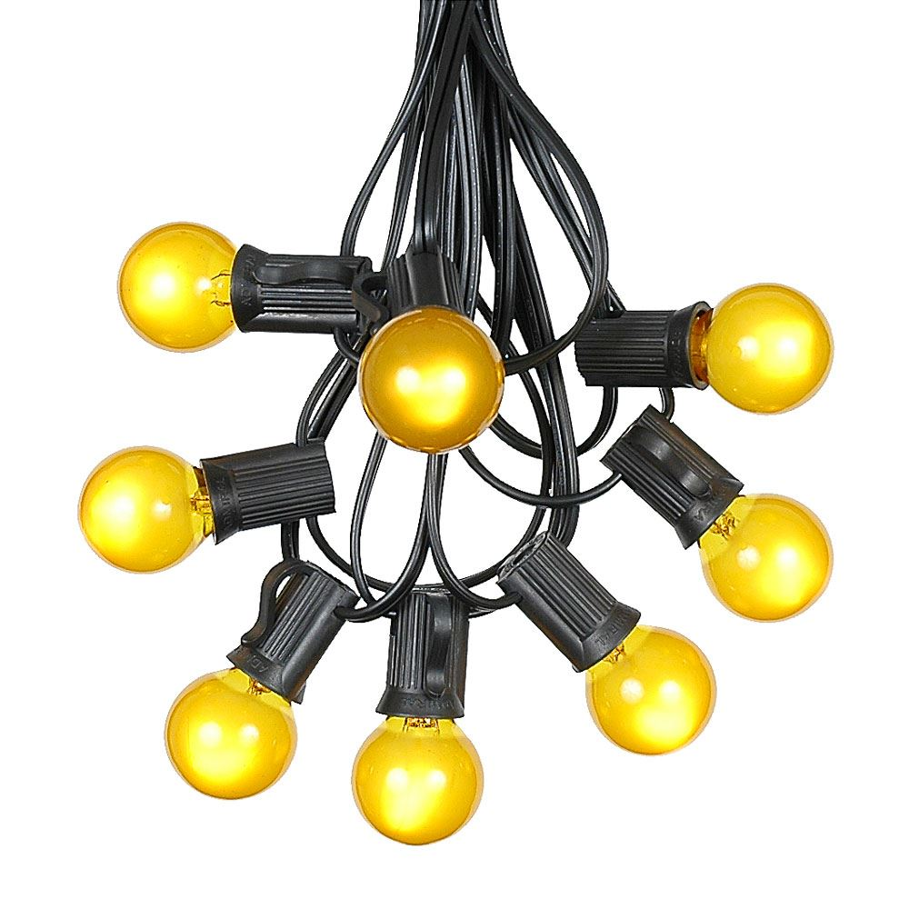 Picture of 100 G30 Globe String Light Set with Yellow Satin Bulbs on Black Wire