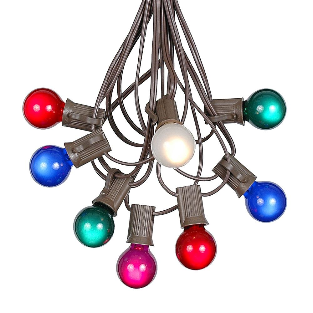 Picture of 100 G30 Globe String Light Set with Multi Colored Satin Bulbs on Brown Wire