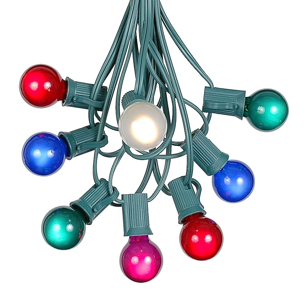 Picture of 100 G30 Globe String Light Set with Multi Colored Satin Bulbs on Green Wire