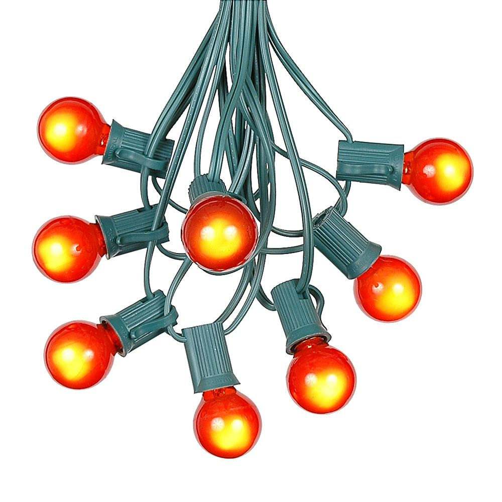 Picture of 100 G30 Globe String Light Set with Orange Satin Bulbs on Green Wire
