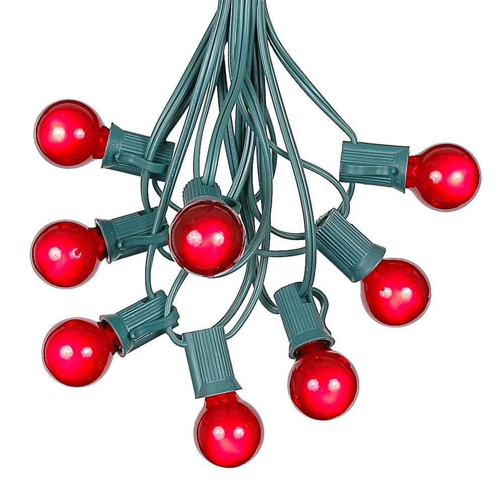 Picture of 100 G30 Globe String Light Set with Red Satin Bulbs on Green Wire