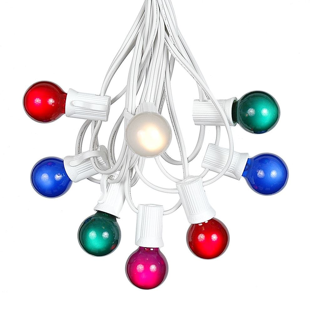 Picture of 100 G30 Globe String Light Set with Multi Colored Satin Bulbs on White Wire
