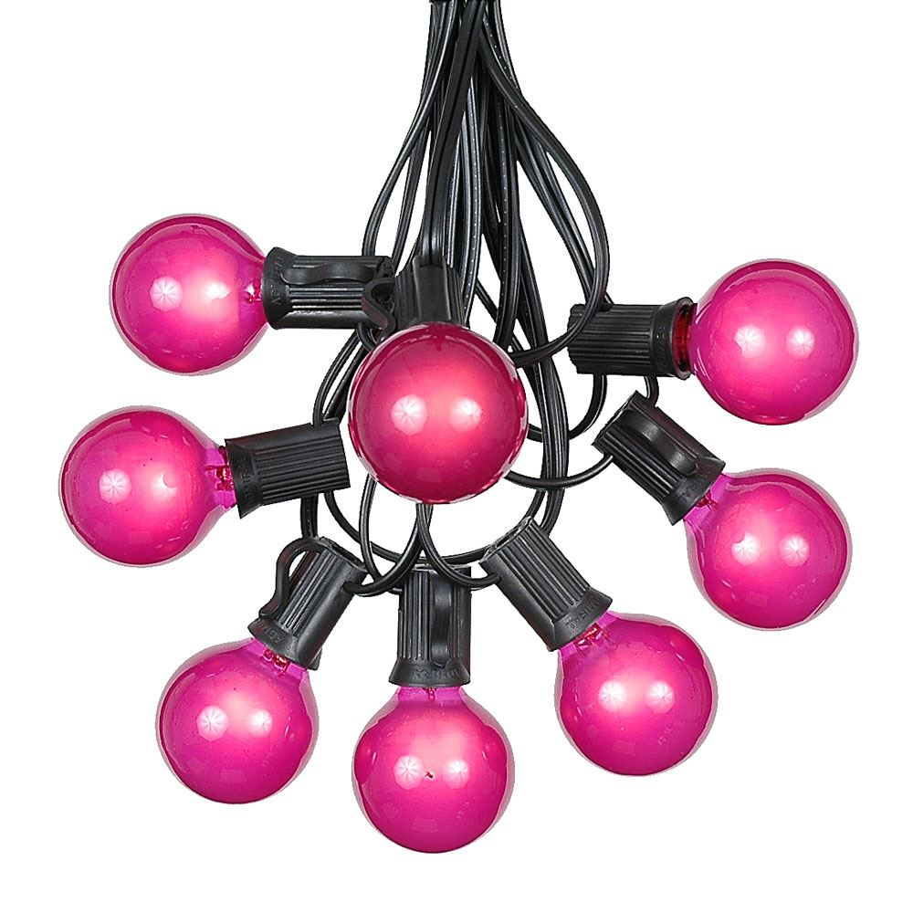 Picture of 100 G40 Globe String Light Set with Pink Bulbs on Black Wire