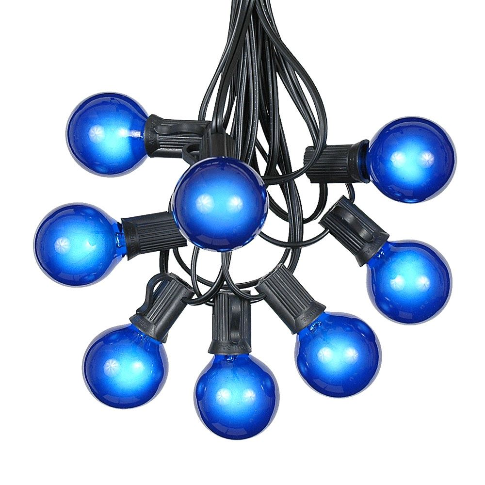 Picture of 100 G40 Globe String Light Set with Blue Bulbs on Black Wire
