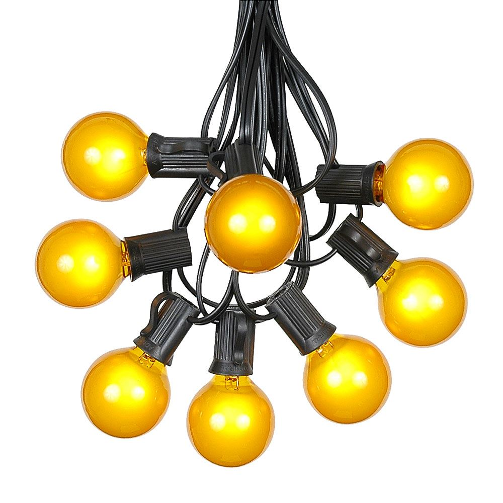 Yellow Globe String Lights : 100 Yellow G40 Globe/Round Outdoor String Light Set on Black Wire - Novelty Lights, Inc
