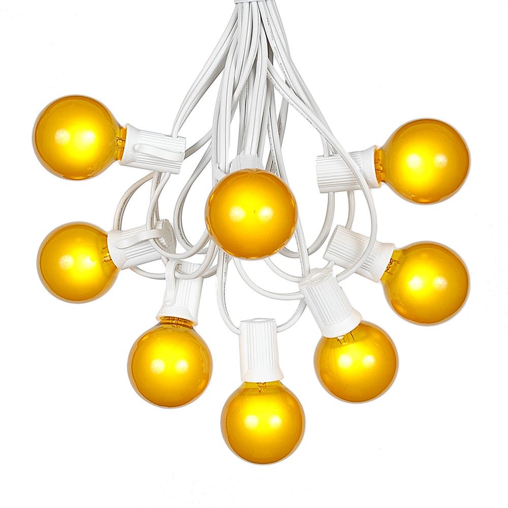 Picture of 100 G40 Globe String Light Set with Yellow Satin Bulbs on White Wire
