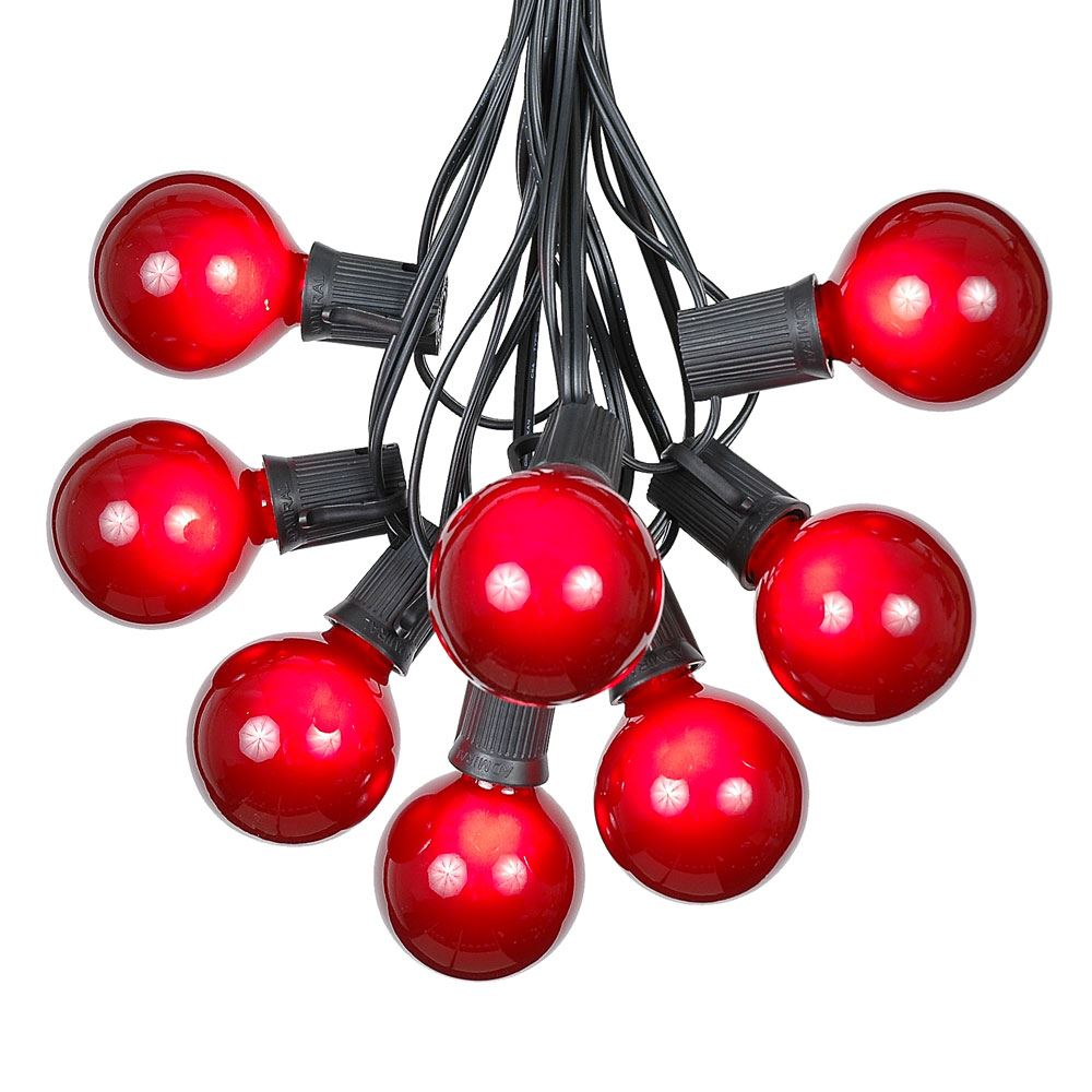 Picture of 100 G50 Globe Light String Set with Red Bulbs on Black Wire