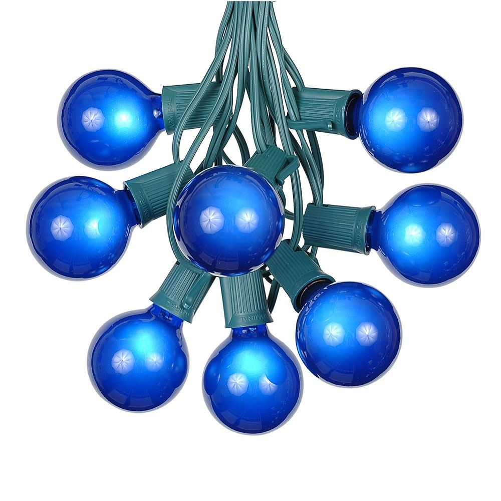 Picture of 100 G50 Globe Light String Set with Blue on Green Wire