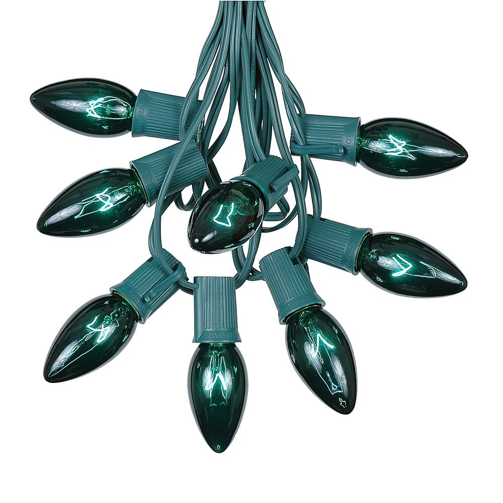 Picture of C9 25 Light String Set with Green Bulbs on Green Wire