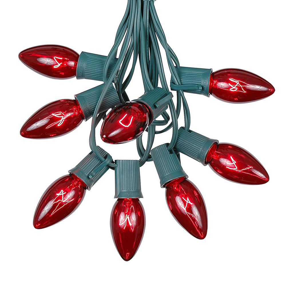 Delightful Picture Of C9 25 Light String Set With Red Bulbs On Green Wire Nice Look