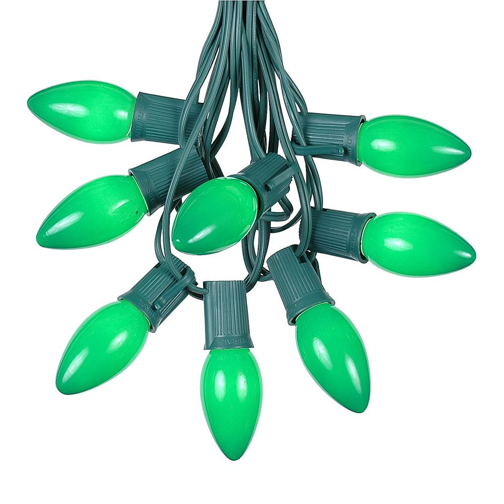 Picture of C9 25 Light String Set with Ceramic Green Bulbs on Green Wire