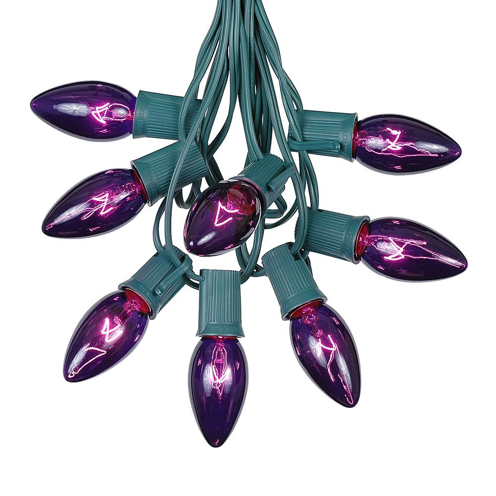 100 Foot C9 Purple Christmas Light Set Hanging Patio