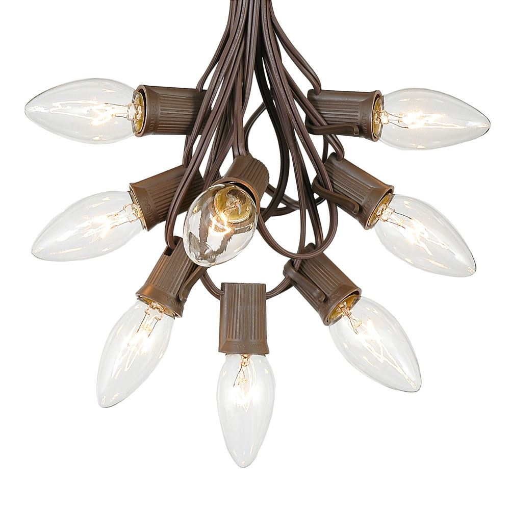 Picture Of 25 Ling C9 Christmas Light Set Clear Brown Wire
