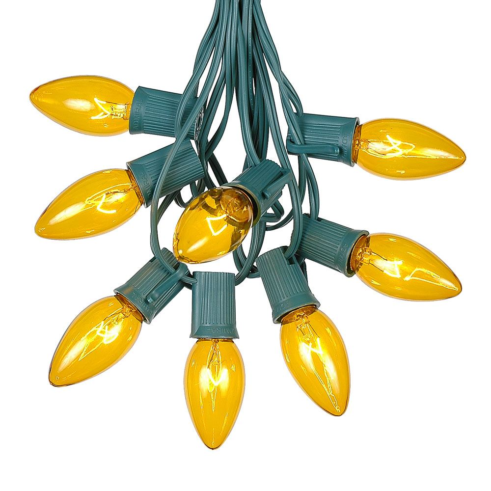 Picture of 25 Twinkling C9 Christmas Light Set - Yellow - Green Wire