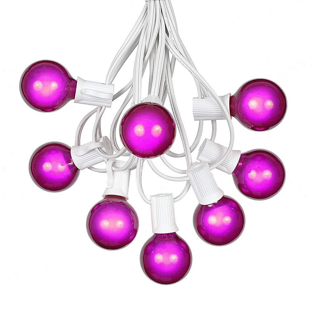 Picture of 100 G40 Globe String Light Set with Purple Satin Bulbs on White Wire