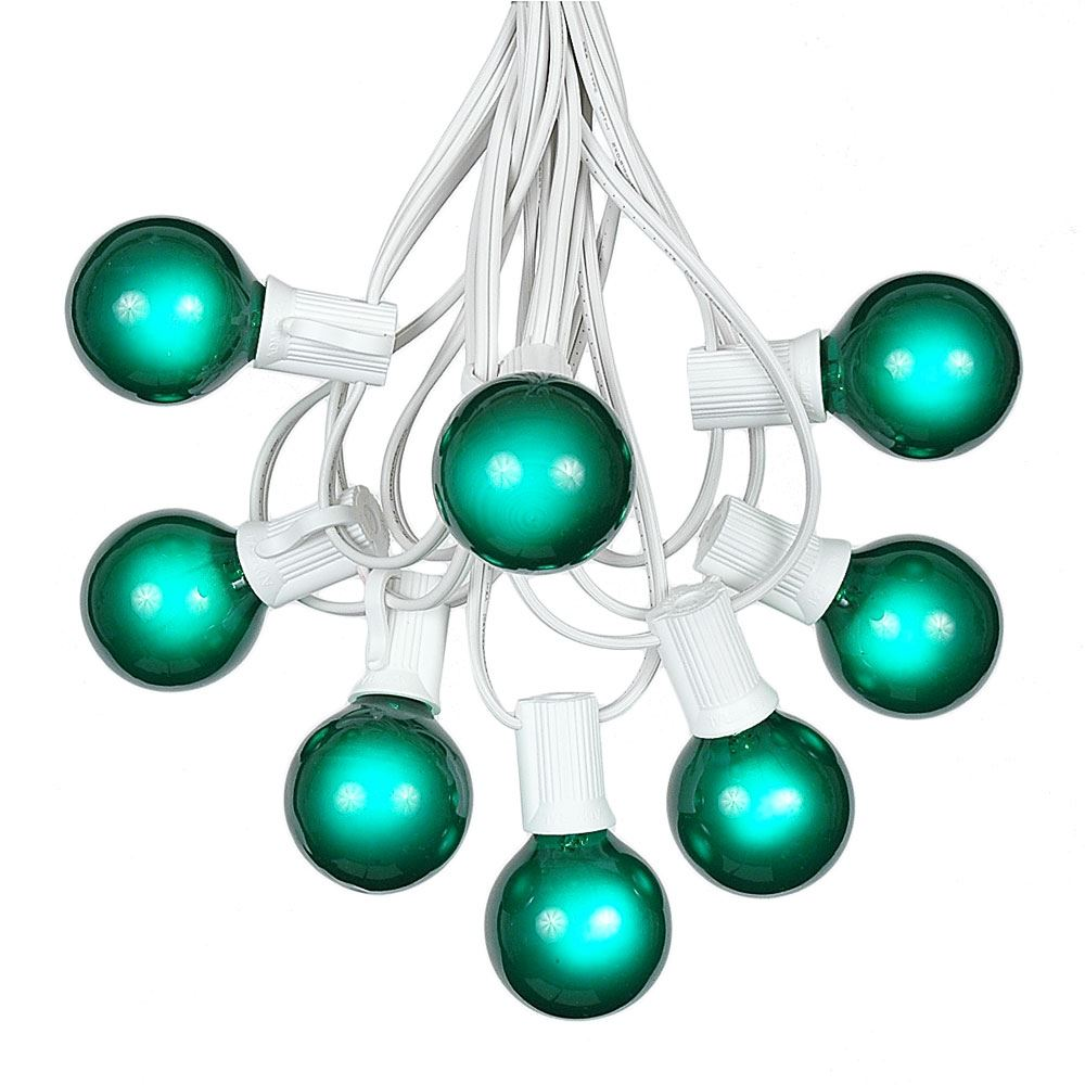 Picture of 100 G40 Globe String Light Set with Green Satin Bulbs on White Wire