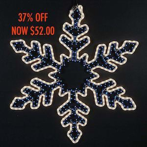 "Picture of **SALE** 36"" Bi-Color Rope Light Snowflake-Frosted White & Blue"