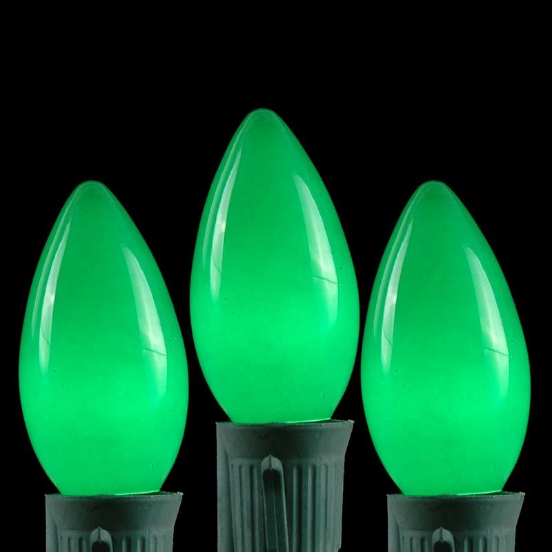 Picture of Green Ceramic C9 7 Watt Bulbs 25 Pack
