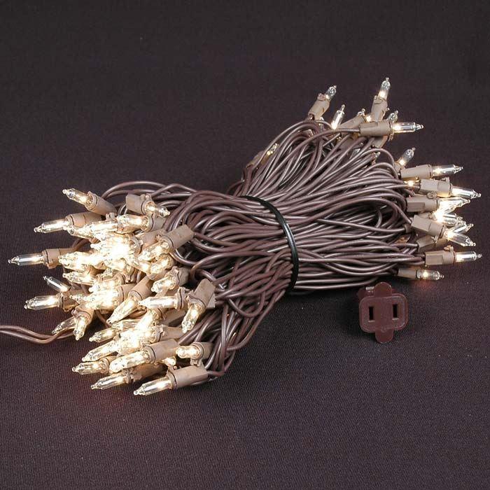 Picture of Brown Wire Clear Christmas Mini Lights 100 Light 50 Feet Long