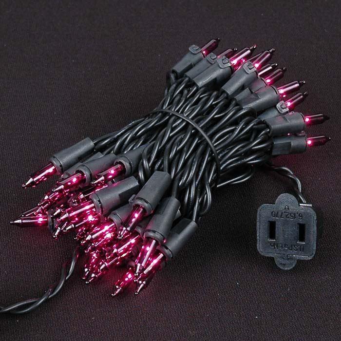 Purple Christmas Mini Lights Set 50 Light Black Wire 11