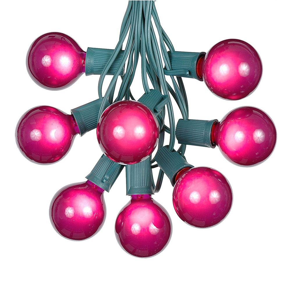 Purple Satin G50 Globe/Round Outdoor String Light Set on Green Wire - Novelty Lights, Inc