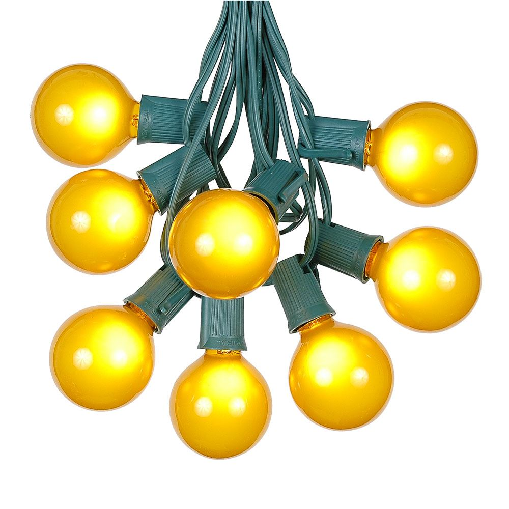 Gold Globe String Lights : Yellow (gold) Satin G50 Globe/Round Outdoor String Light Set on Green Wire - Novelty Lights, Inc