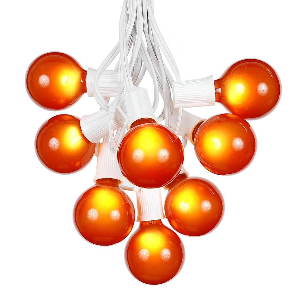Picture of 25 G50 Globe Light String Set with Orange (amber) Bulbs on White Wire