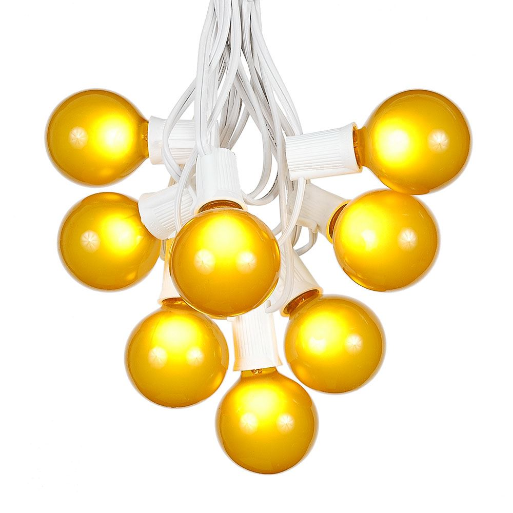 Yellow Globe String Lights : Yellow (gold) G50 Globe/Round Outdoor String Light Set on White Wire - Novelty Lights, Inc