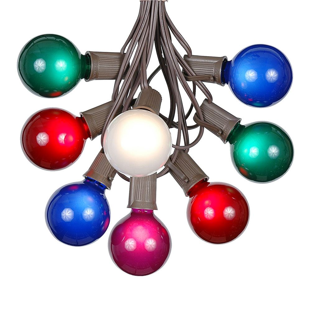 Picture of 25 G50 Globe Light String Set with Assorted Bulbs on Brown Wire
