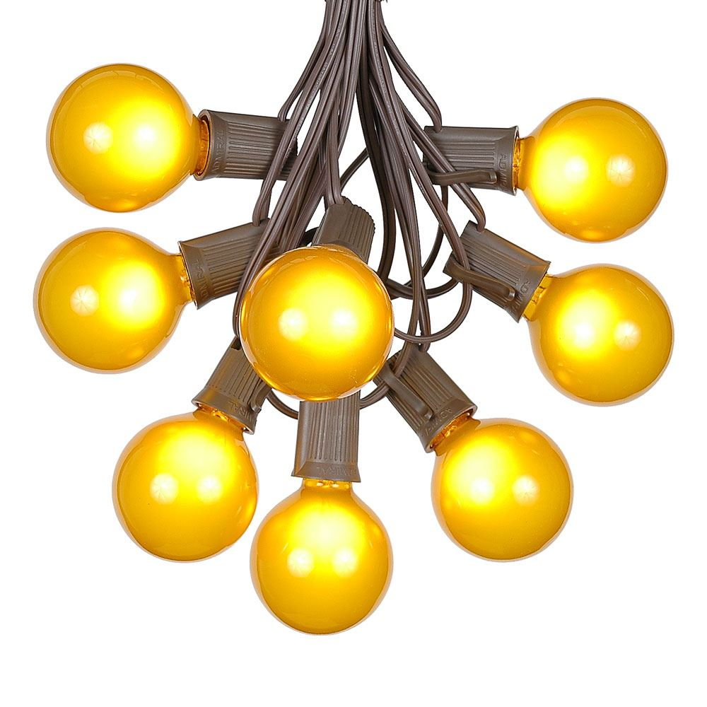 Yellow Globe String Lights : Yellow Satin G50 Globe Outdoor String Light Set on Brown Wire - Novelty Lights, Inc