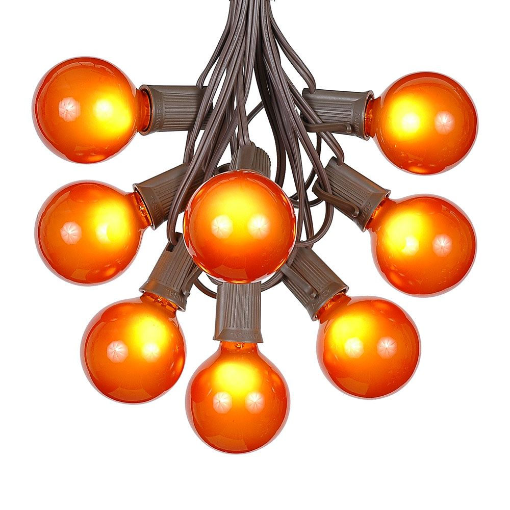 Picture of 25 G50 Globe Light String Set with Orange Bulbs on Brown Wire
