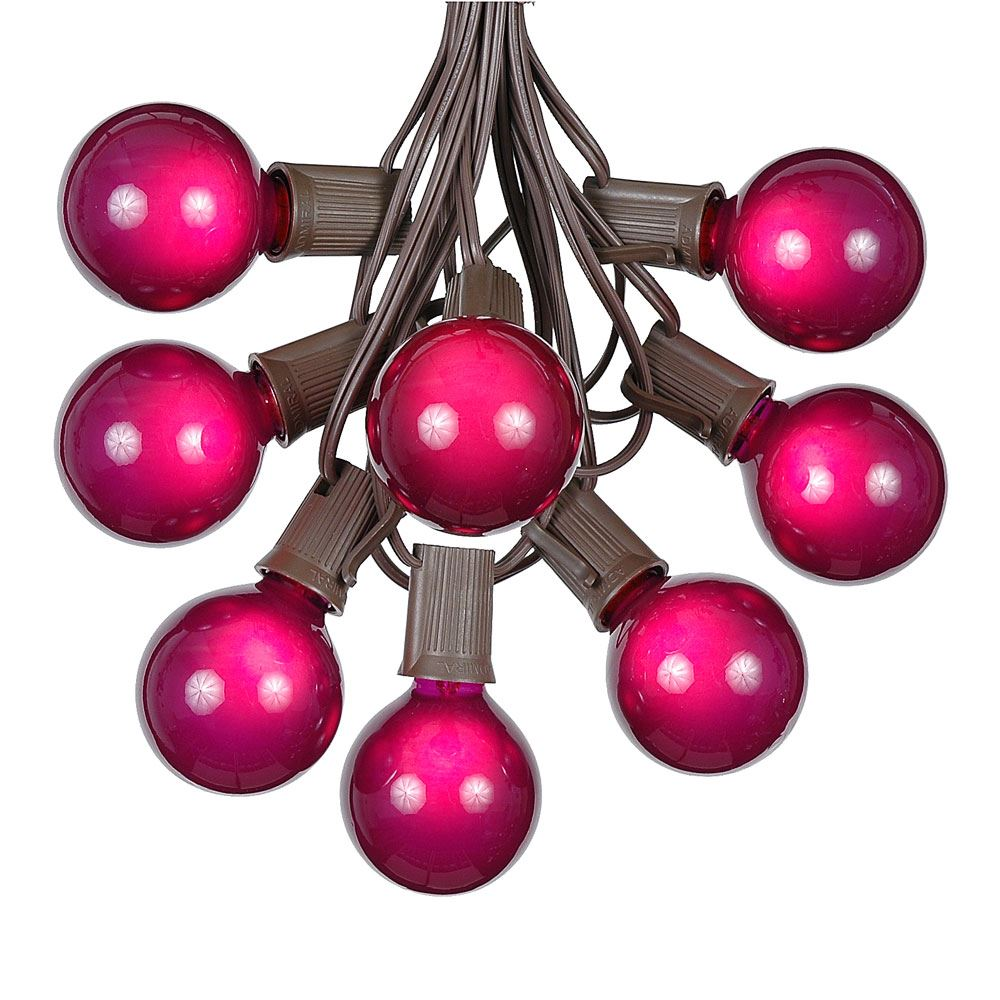 Picture of 25 G50 Globe Light String Set with Purple Bulbs on Brown Wire