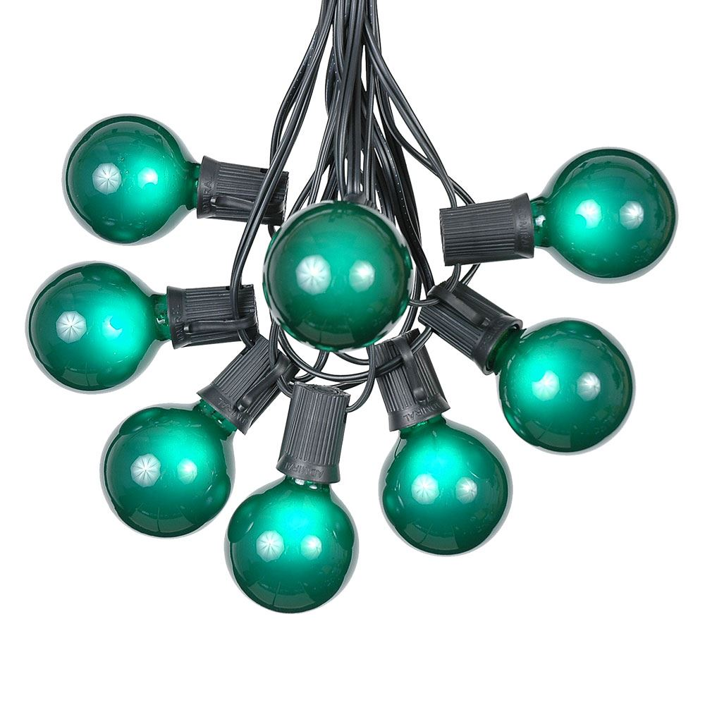 Green Satin G50 Globe Outdoor String Light Set on Black Wire - Novelty Lights, Inc