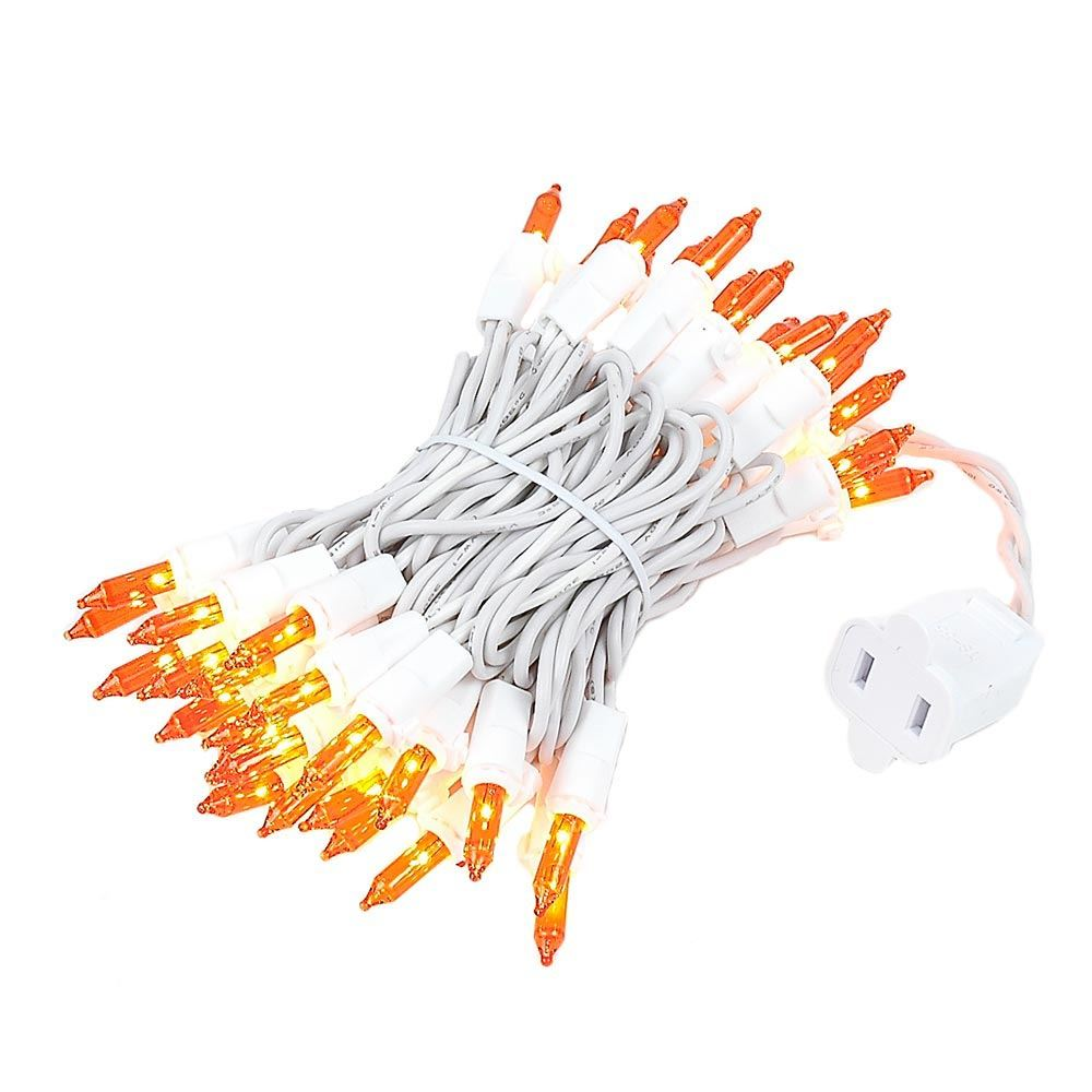 Picture of Amber (orange) 50 Light 11' Long White Wire Christmas Mini Lights