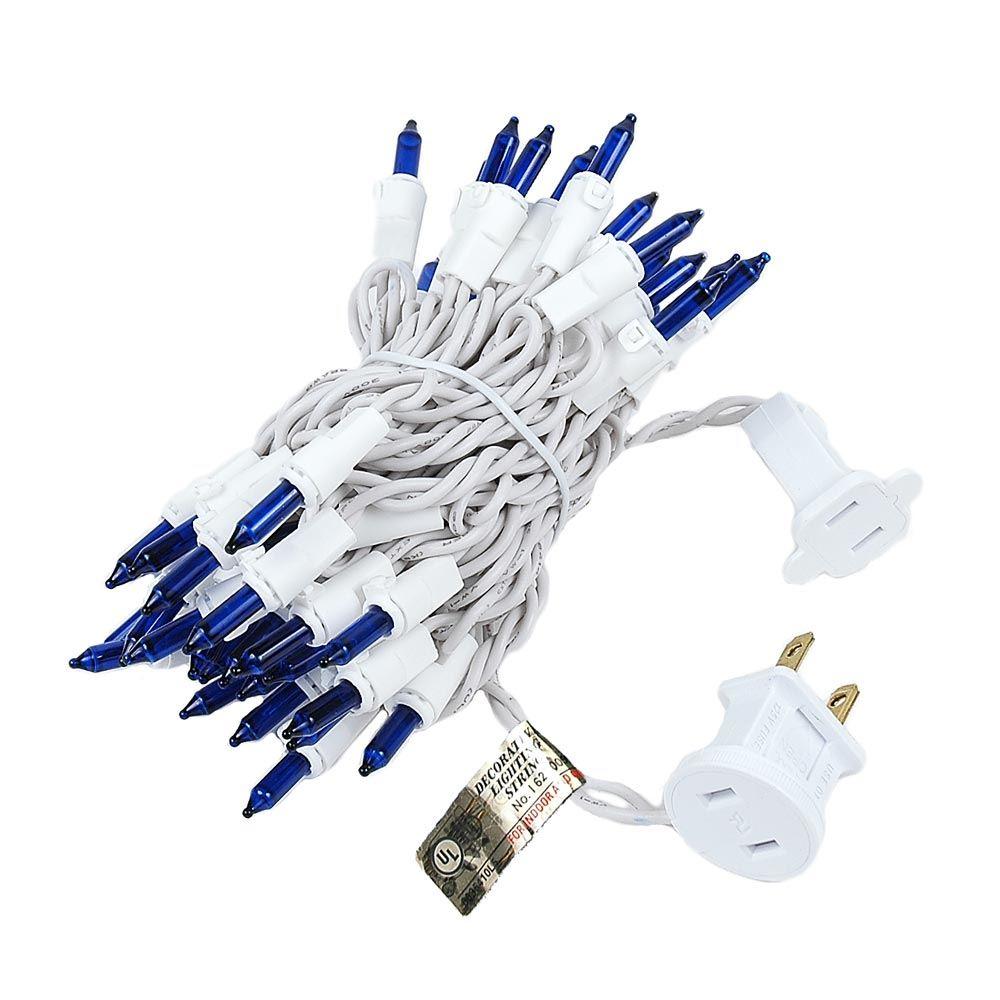 Blue Christmas Mini Light Set 50 Light White Wire 11 Feet Long ...