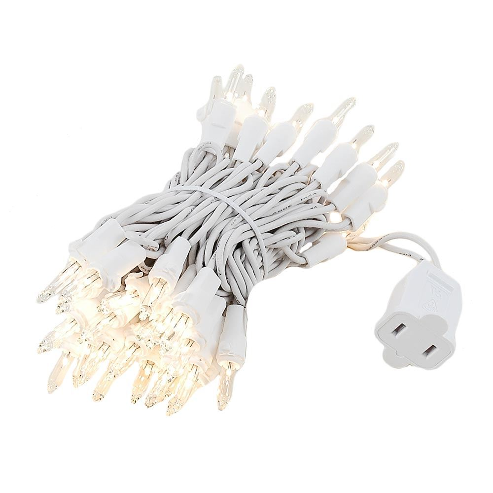 Christmas Lighting Wire : Clear christmas mini light set white wire feet