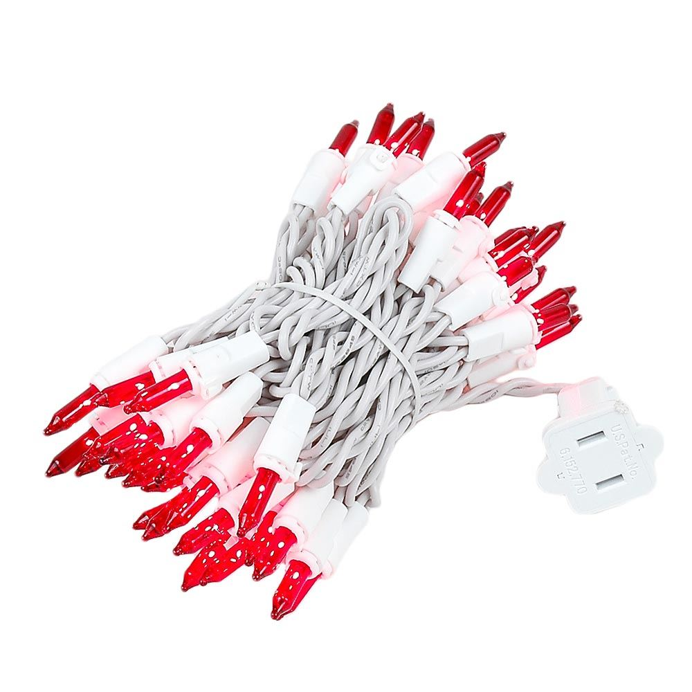 Picture of Red 50 Light 11' Long White Wire Christmas Mini Lights