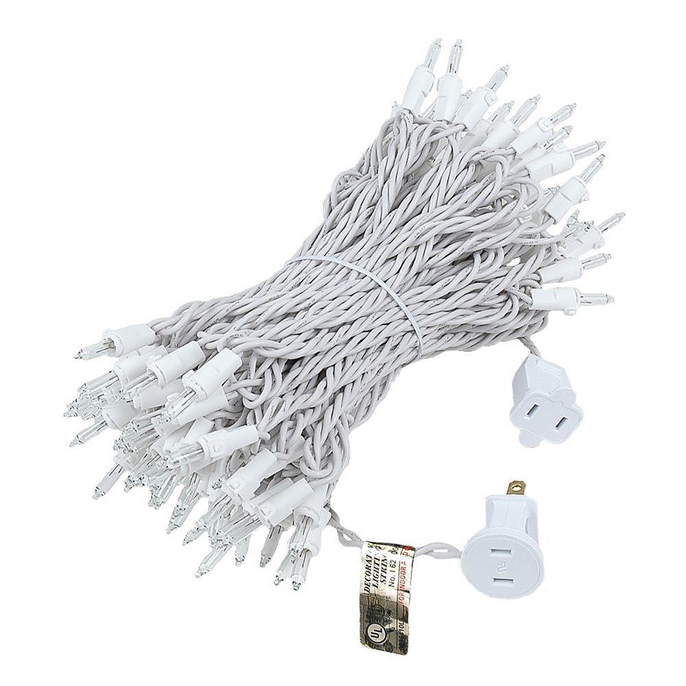 Christmas Mini Light Sets 100 Light White Wire