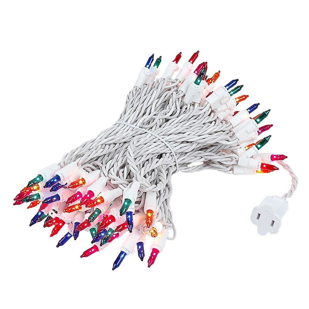 Picture of 100 Light 50' Long White Wire Multi Christmas Mini Lights