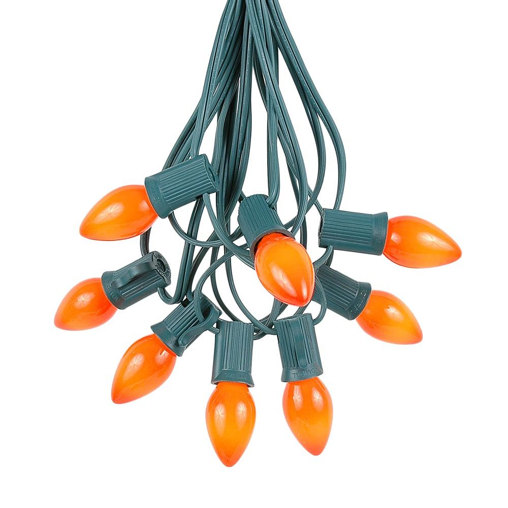 Picture of 25 Light String Set with Orange Ceramic C7 Bulbs on Green Wire