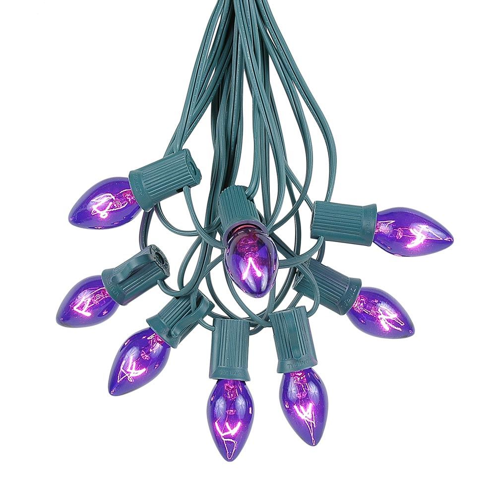 Picture of 100 C7 String Light Set with Purple Bulbs on Green Wire