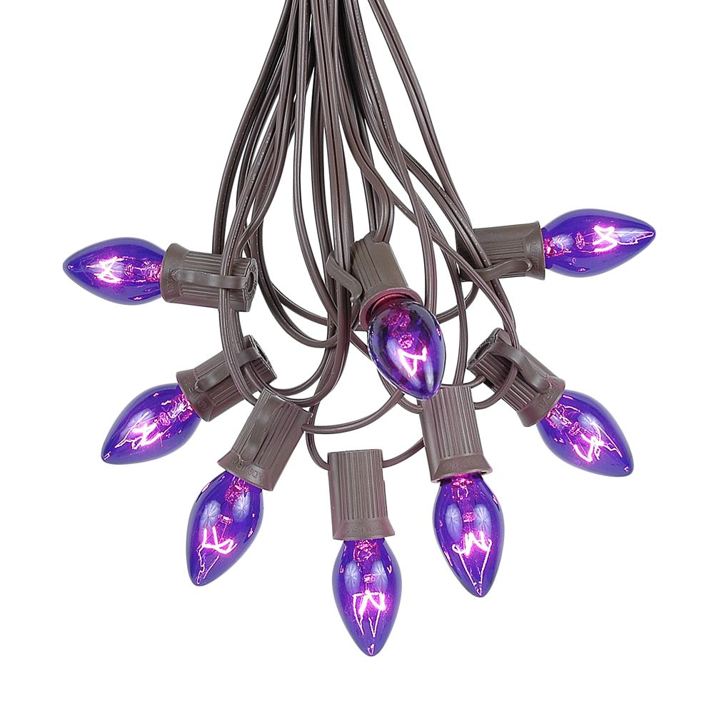 Picture of 100 C7 String Light Set with Purple Bulbs on Brown Wire