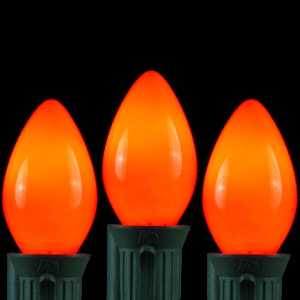 C7 String Lights Outdoor : Orange Ceramic C7 Outdoor String Light Set on Green Wire - Novelty Lights, Inc