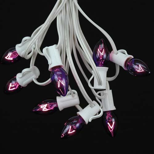 Picture of 100 C7 String Light Set with Purple Bulbs on White Wire