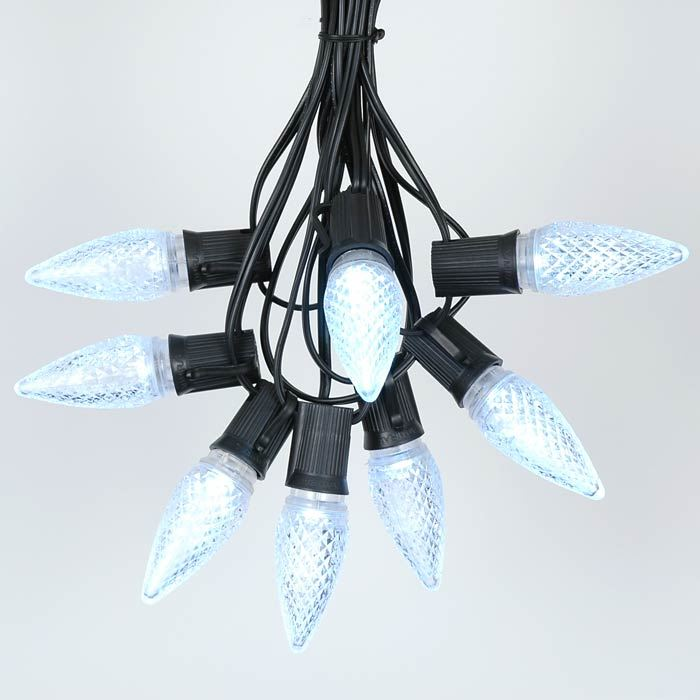 Picture of 25 Light String Set with Pure White LED C9 Bulbs on Black Wire