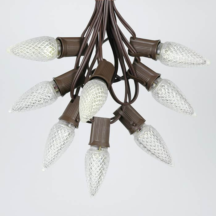 Picture of 25 Light String Set with Warm White LED C9 Bulbs on Brown Wire