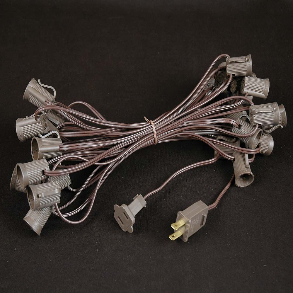 Green LED C9 Outdoor Christmas Light Set on Brown Wire - Novelty Lights, Inc