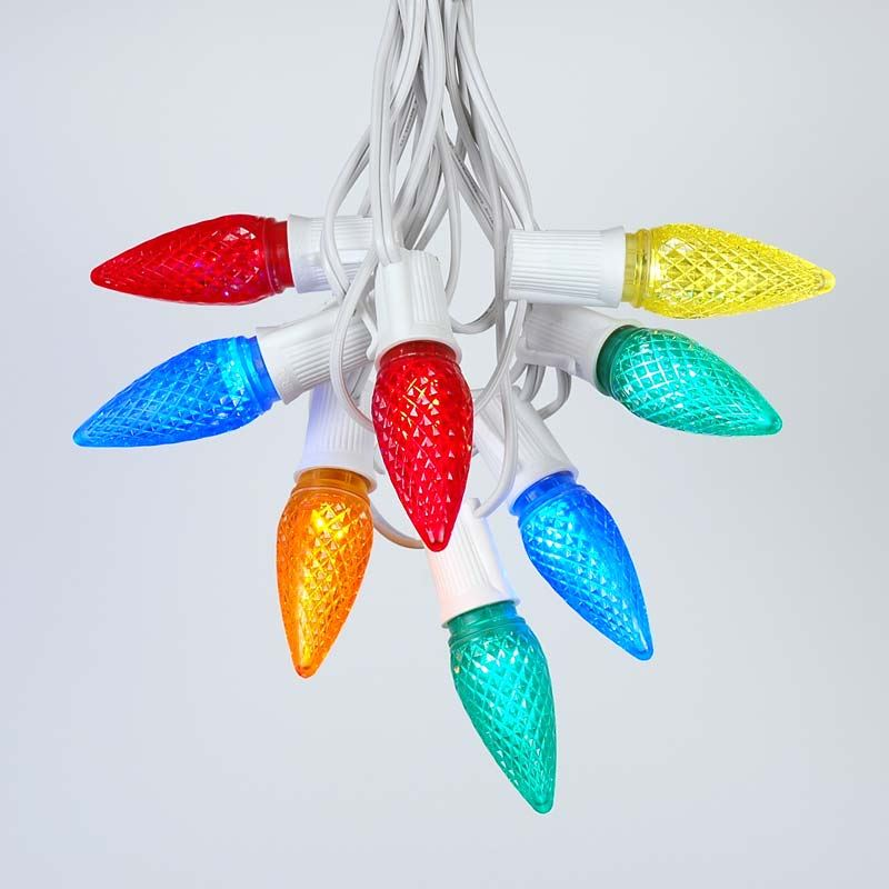 Picture of 25 Light String Set with Multi Colored LED C9 Bulbs on White Wire