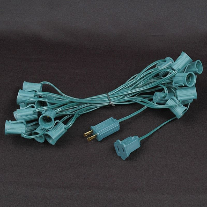 Green LED C9 Outdoor Christmas Light Set on Green Wire - Novelty ...